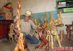甘肃张家川县农民杨翰林的根雕艺术