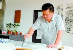 中国当代著名焦墨山水画家古丰在兰州举办书法交流会