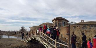 甘肃张掖湿地公园春节长假期间游人如织