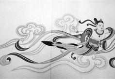 兰州七旬老艺术家范兴儒装裱手卷《飞天长卷》展出