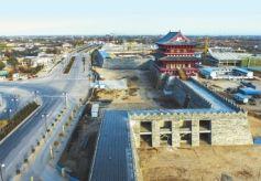 甘肃省重点工程庆阳民俗文化产业园建设一角