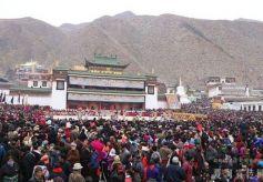 甘南夏河拉卜楞寺举行正月法会法舞表演