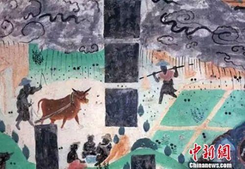 图为莫高窟23窟壁画雨中耕作(盛唐)。 敦煌研究院供图