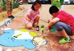 甘肃嘉峪关北路社区开展公益彩绘井盖涂鸦比赛