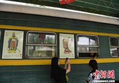 甘肃高台蒸汽机绿皮火车成连环画博物馆
