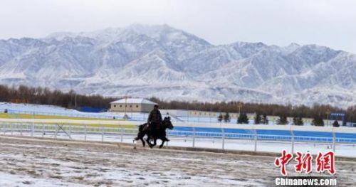 天地间白雪皑皑,一人一马相互配合驰骋飞奔而去。 佟格勒格 摄
