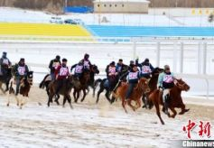 甘肃肃北雪地开展赛马比赛 呈现马上的速度与激情