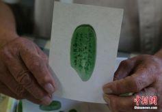 甘肃八旬老人大米粒上雕刻《三字经》