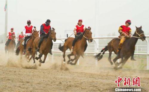 """甘肃哈萨克族上演传统""""叼羊""""骑手马背上展英姿"""