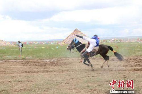 图为甘肃武威市天祝华锐藏区举办赛马节。 张海涛 摄