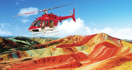 直升机俯瞰最美丹霞