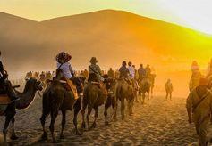 敦煌旅游持续升温 鸣沙山下大漠驼队宛如长龙