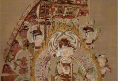 敦煌藏经洞绢画:普贤菩萨赴灵鹫山听法图