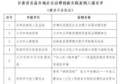 甘肃省首届市域社会治理创新实践优秀案例入围名单发布