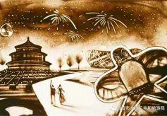 国庆节游客在敦煌体验别样的沙画艺术