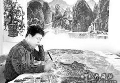 甘肃画家王陇花手绘《华夏文明传承创新区揽胜图》长卷
